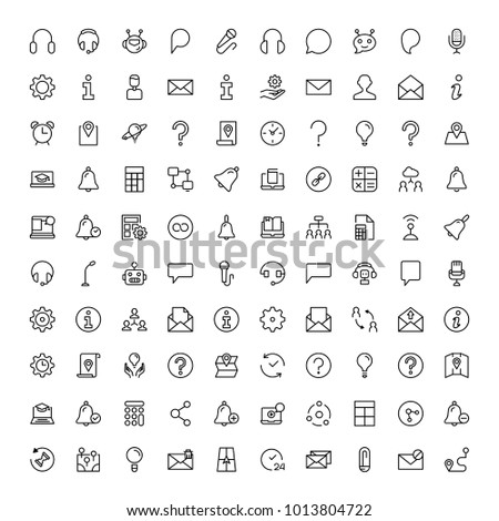 Support flat icon set. Single high quality outline symbol of info for web design or mobile app. Thin line signs for design logo, visit card, etc. Outline logo of support