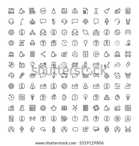 Support flat icon set. Single high quality outline symbol of info for web design or mobile app. Thin line signs for design logo, visit card, etc. Outline logo of support
