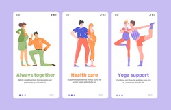 Support from husbands to wives during pregnancy. Welcome screenshots of a mobile application for future parents. Dad listens to mom's tummy, a couple hugging, a man and a woman do yoga. Vector flat
