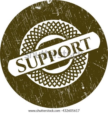 Support grunge style stamp