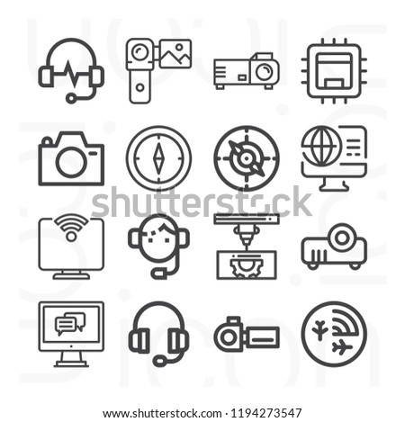 Support, headphones, compass, 3d printer, camera, projector, radar, camcorder, hardware, computer icon set suitable for info graphics, websites and print media and interfaces #1194273547