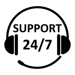 Support 24 hours flat icon isolated on white background. Call center support symbol with headphone image. EPS10 vector illustration for business banner, template, icon, sign, poster, web, application.