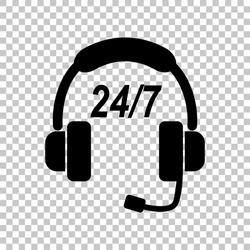 Support 24 hours sign. Black icon on transparent background. Illustration.