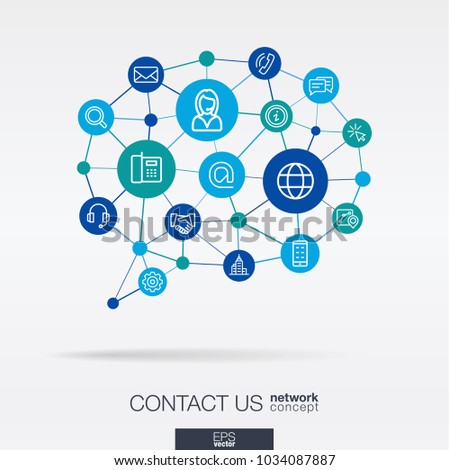 Support integrated thin line web icons in speech bubble message shape. Digital neural network concept. Connected polygons system. Background for call center, help service, contact us . Vector