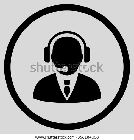 Support Manager vector icon. Call center worker pictograph. Style is flat circled symbol, color, rounded angles, white background.