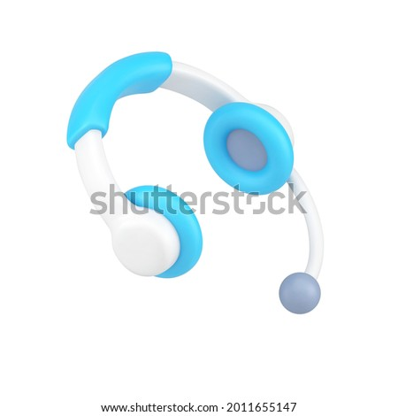 Support operator headphones 3d icon. Professional white device with microphone. Help and discussion of user problems. Call center and telemarketing equipment. Realistic isolated vector