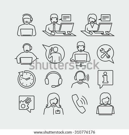Support operators working on computers vector icons