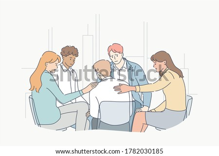 Support, psychology, depression, frustration, mental stress concept. Young people men women characters calming frustrated depressed guy at psychological courses meeting. Group therapy and medical help