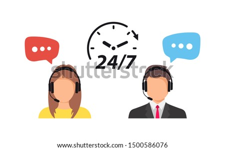 Support service. Call center support 24/7. Operator of call center.  Customer service character. Client services and communication. Speech bubbles conceptual of client services and communication. 24/7