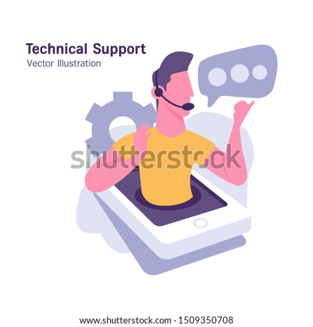 Support service concept. Men talking to customers. Flat Vector Illustration