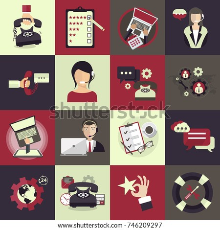 Support service icon set. Technical support assistant in office and customer review icon set. Flat vector illustration.