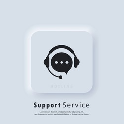 Support service icon. Tech support icon. Call center service. Support assistant. Operator. Vector. UI icon. Neumorphic UI UX white user interface web button.