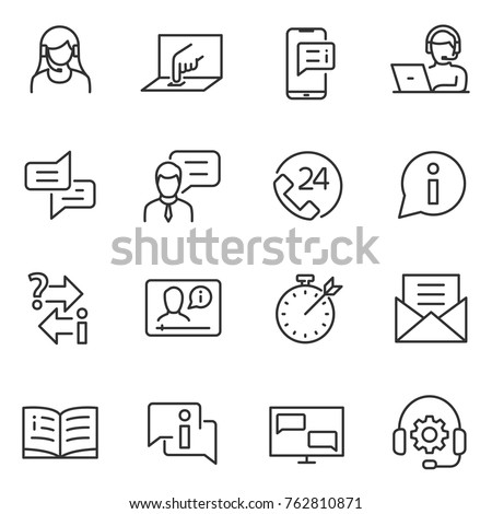 Support service linear icons. Assistance in technical and other matters. telephone operator and web help. Line with editable stroke.
