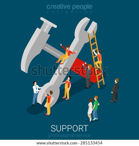 Support service professional guarantee maintenance concept flat 3d web isometric info graphic concept vector. Micro people on big hummer wrench sign. Creative people collection.