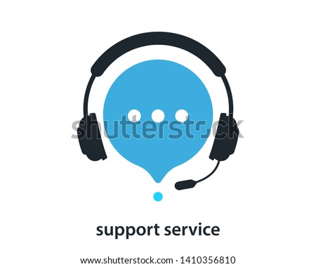 Support service with headphones. Customer Support Icon. Consultation, telemarketing, consultant, secretary