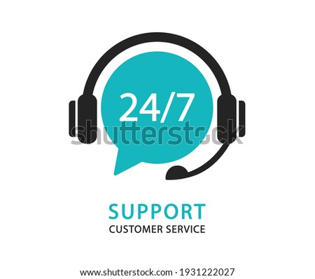 Support service with headphones. Hotline customer service. Call center. Vector Illustration. Photo stock ©