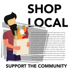 Support small business concept poster design.Vector illustration of man with shopping bag.Buy local concept design.
