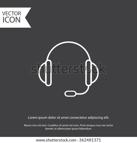 support vector icon.  headset. eps 10. gray icon.