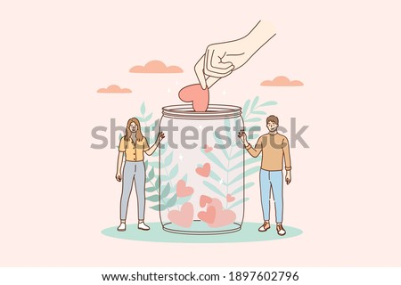Support, volunteering, charity concept. Young smiling man and woman cartoon characters standing with donation jar collecting heart symbols with giving hand for charity helping campaign