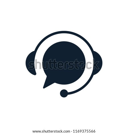 Support with speech bubble on white background. Flat vector support icon design.