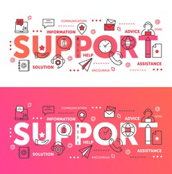 Support word vector illustration set. Thin line abstract web design for call center technical online help and assist with tech problems, client or customer assistance technology mobile website banners