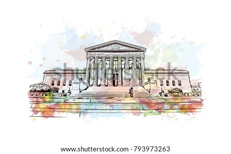 Supreme Court building in the United States of America is located in Washington, D.C., USA. Watercolor splash with sketch illustration in vector.