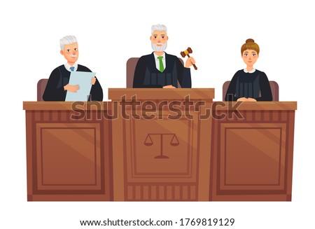 Supreme court tribune. Judges in session, judge holding hammer and justice cartoon vector illustration. Set judge, supreme judgement, judicial process Foto d'archivio ©