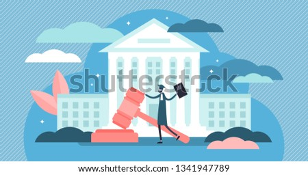 Supreme court vector illustration. Flat tiny judge building persons concept. Power, justice and federal authority symbol. Lawyer profession knowledge study and graduation. Crime courthouse advocate. Сток-фото ©