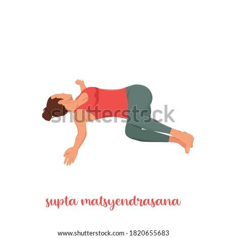 Supta Matsyendrasana yoga pose (Reclined Spinal Twist pose). Yoga poses woman isolated with white background. Yoga pose set. Mindfulness and Spiritually concept. Girl practicing Hatha Yoga asanas.