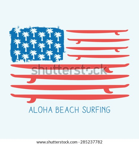 surf america flag typography  t