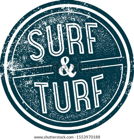 Surf and Turf Vintage Steakhouse Menu Stamp
