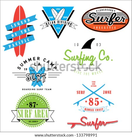 Surf badges and emblems