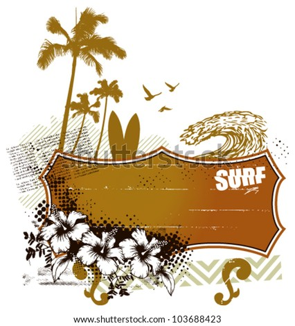 surf banner with summer scene