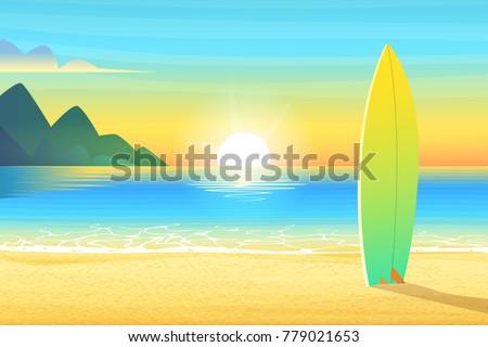surf board on a sandy beach
