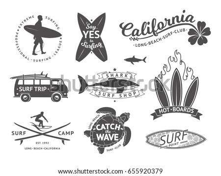 surf boards emblem and badges