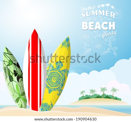 surf boards on sea beach
