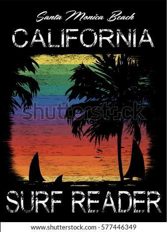 surf california typography  t...