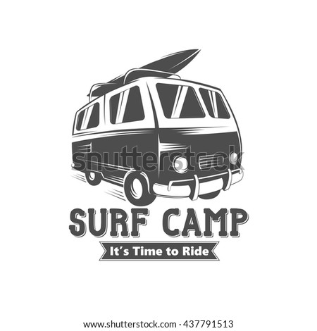 surf camp logo design vintage