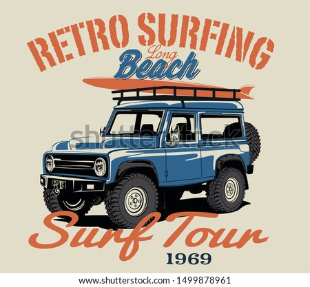 surf car and surf board vector illustration