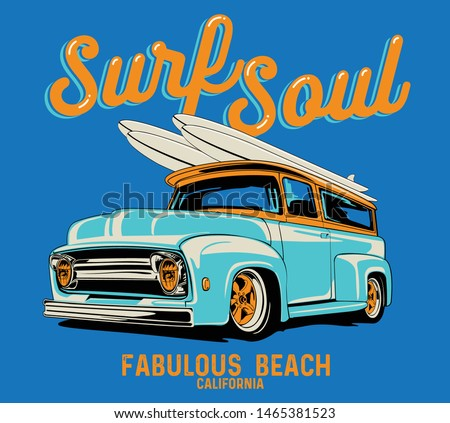 surf car drawing for t shirt