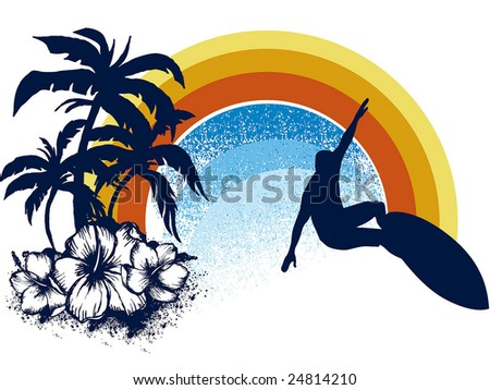surf emblem whit palms, hibiscus and rainbow
