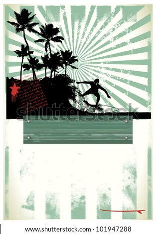 surf grunge poster with rider and beauty coast