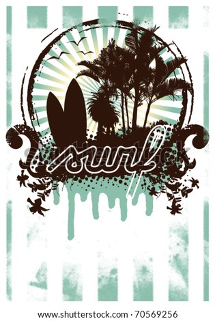 surf grunge poster with summer shield inside