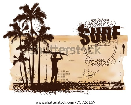 surf grunge scene with old paper background - stock vector