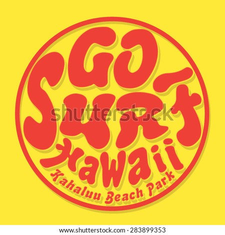surf hawaii typography  t shirt