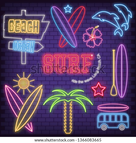 surf icons in neon style