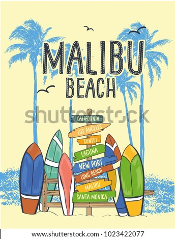 Surf Illustration / t-shirt graphics / vectors/ typography/ pacific surf wave/ summer tropical heat print/ surf print vector set/ wave illustration
