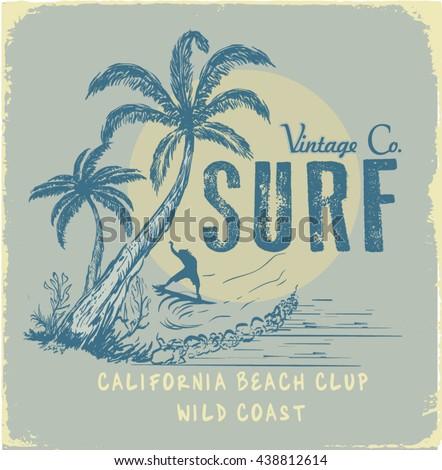 surf illustration   t shirt