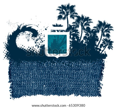 surf jean banner with shield wave and palm trees