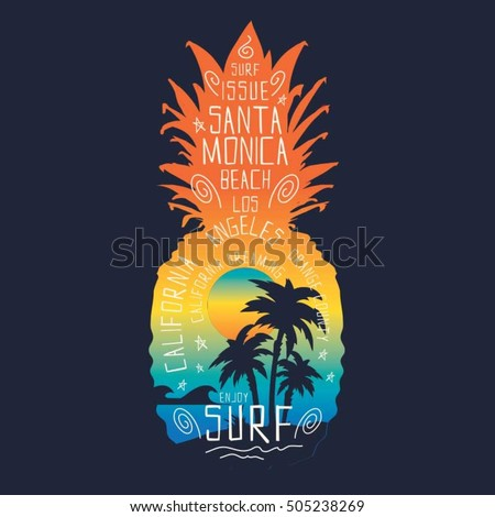 Surf pineapple illustration, typography, t-shirt graphics, vectors